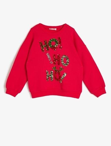 Koton Kids Yeni Yıl Temalı Sweatshirt Kırmızı